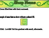 Green and Yellow Gradient Banner and Avatar Set with Scrolls, for Your Etsy Shop