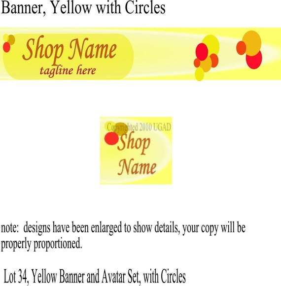 Yellow Banner and Avatar Set For Your Etsy Shop
