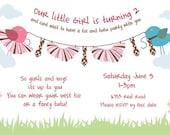 Printable Pink bird custom tutu tie birthday party invitation