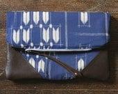 NOMAD Collection - STELLA Leather & Kimono Clutch - arrown chevron