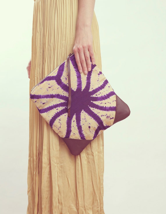 SALE NOMAD Collection - STELLA Leather & Kimono Clutch geometric shibori tie dye