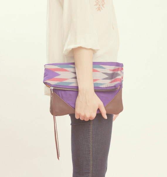 NOMAD Collection - STELLA Leather & Kimono Clutch - arrow chevron