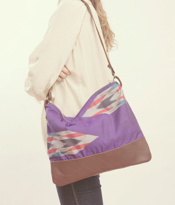 NOMAD Collection - The Parker Bag - Leather & Kimono Purse - Tribal Arrow