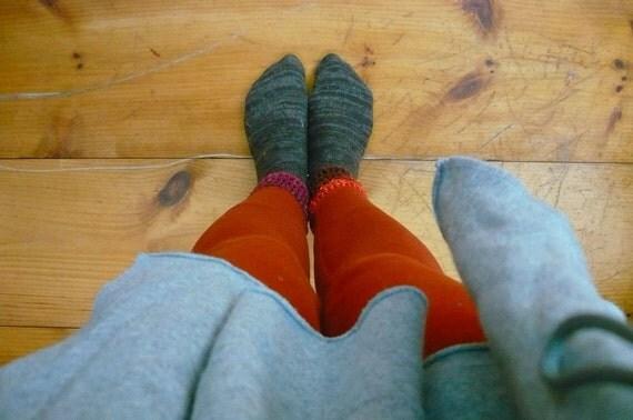 rust crochet edged leggings
