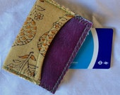 BelleReverb  Oyster card holder with purple leather detail