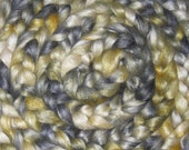 Silk Roving, Tussah, 2 ounces Handpainted, Silver and Gold