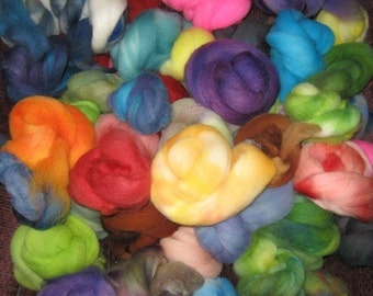 SALE Hand-dyed multi-packs of feltable Merino roving curls, 4 ounces Assorted
