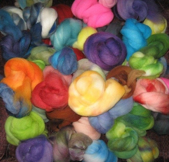 SALE  SUPERFINE Hand-dyed multi-packs of feltable Merino roving curls, 4 ounces Assorted