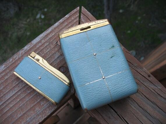 Blue Vintage Cigarette Case and Matching Lighter