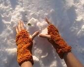 Orange Muppet Fingerless Gloves - OOAK