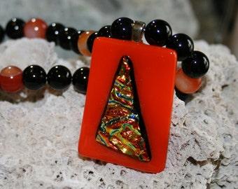 Orange Glow Fused Glass Dichroic Pendant With Beaded Necklace -- Art Glass By YM