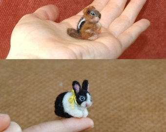 OOAK Hand Needle Felted Tiny Miniature Critter by Amber Rose Creations. Custom Pet, Dog, Cat, wild animal, bear, squirrel
