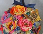 RESERVED CUSTOM order for Danielle .. Bohemian Hippie Rainbow Rose Pomanders