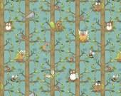 Tree Huggers Owls on Trunks Teal 1 yard