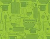 Anna Griffin Kitchy Kitchen Fabric, Retro Utensils Green, 1 yard