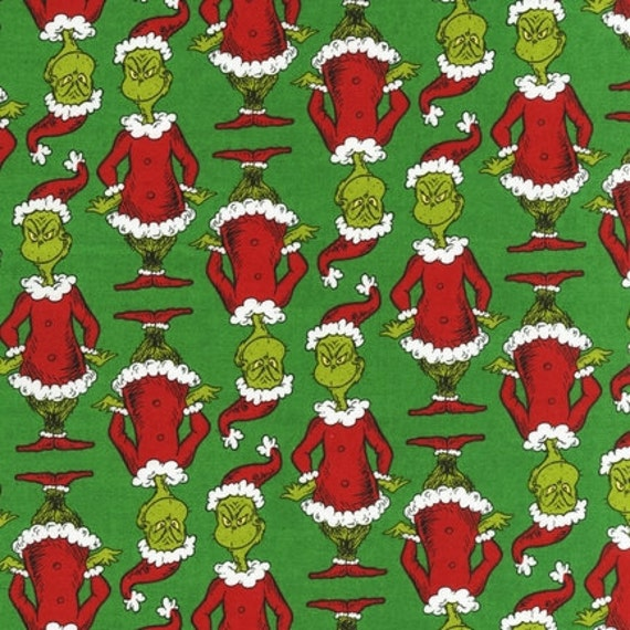 ... How the Grinch Stole Christmas Whoville Holiday Fabric, 1/2 yard, SALE