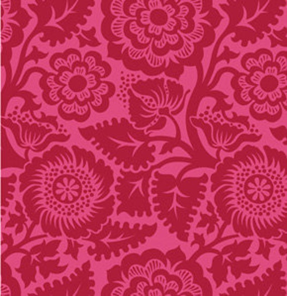 HEIRLOOM  Blockprint Blossom Crimson Joel Dewberry Designer Fabric, Sale