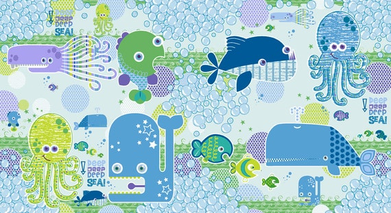 Studio e DEEP DEEP SEA Fabric  Blue - Whale, Octopus, Fish