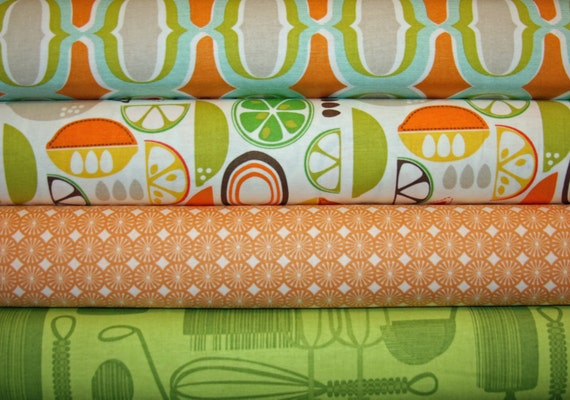 4 Fat Quarters Kitchy Kitchen Blend Fabrics, Designer Fabric, Mod Fabric