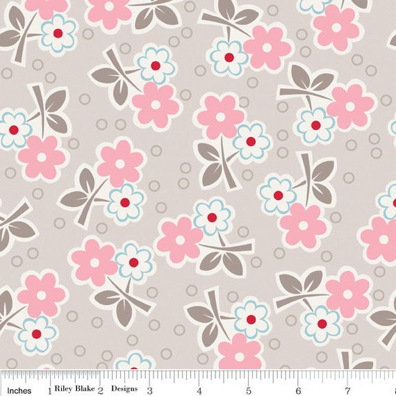 Millie's Closet Floral Pink and Gray  Riley Blake Fabric 3/4 Yard