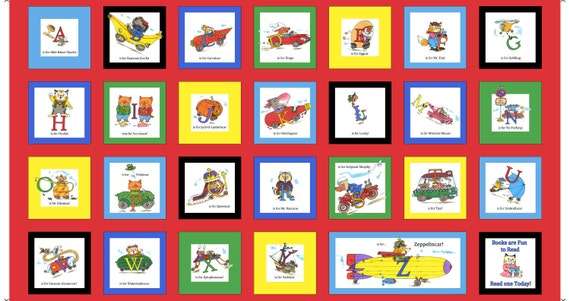 Richard Scarry Fabric Busytown  Busytown A to Z  Alphabet Book Panel, Sale