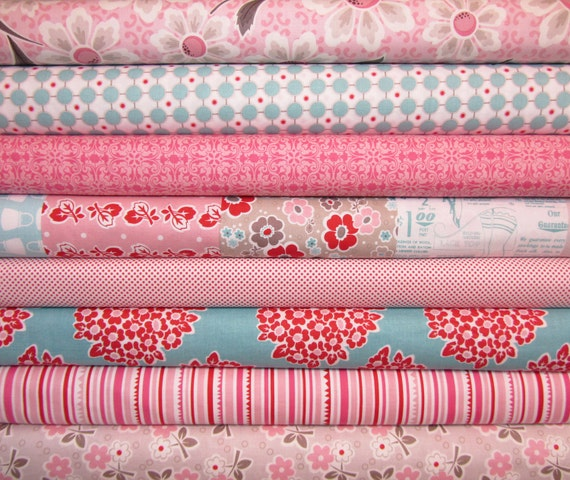 Riley Blake Fabric  Millie's Closet Bundle, Designer Fabric  - 1/2 yard each,  4 yards