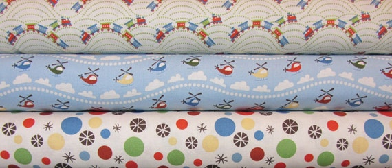 Scoot by Deena Rutter  - Helicopters, Trains, Dots, Riley Blake Fabric  1/2 yard each, 1.5 yards