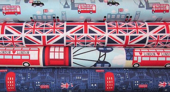 4 fat quarters Cool Britannia - Benartex Fabrics, Designer Fabric