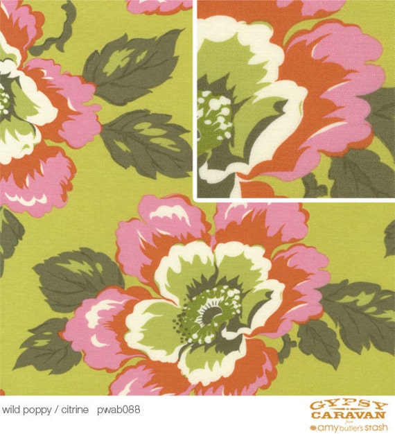 CLEARANCE, Gypsy Caravan  Wild Poppy / Citrine,  Amy Butler Designer Fabrics by the Yard, Sale