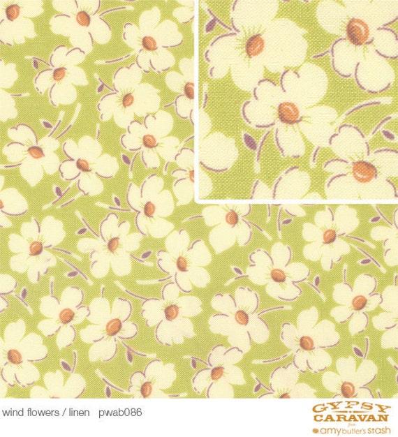 FABRIC SALE, Gypsy Caravan  by Amy butler Fabrics -  Wind Flowers Linen Green, Designer Fabric