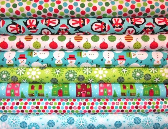 8 Fat Quarters Ann Kelle Jingle Christmas O' Tinsel Tree 2 Holiday Fabric