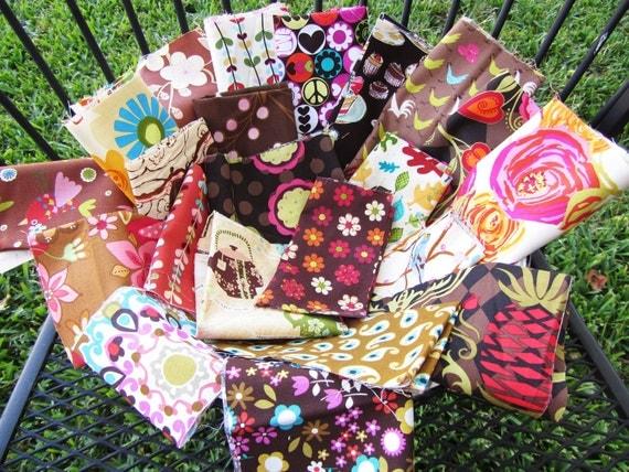 SALE - Designer Fabric Scrap Bag - Shades of Browns Creams  - 12 ounces, Modern Fabric