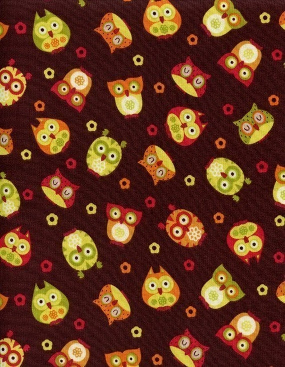 Apple Owls Brown by Timeless Treasures  Fabrics, Designer Fabric, 10 inches