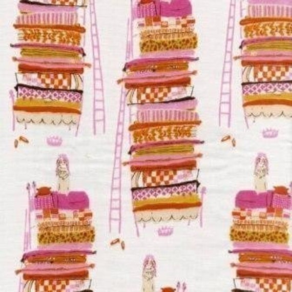 New Heather Ross Princess and the Pea Pink  Far, Far Away 1\/2 Yard Japanese Import