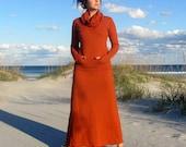 Organic Darjeeling Long Dress - ( hemp and organic cotton fleece ) - organic dress - hemp fleece