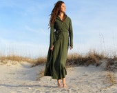 Organic Long Hooded Fleece Wrap Dress ( hemp and organic cotton fleece )