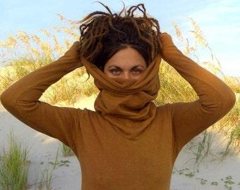 ORGANIC Chunky Cowl Pokara Shirt ( organic hemp and cotton fleece) - organic hemp shirt