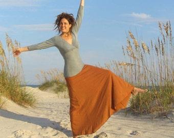 ORGANIC Wanderer Long Skirt ( light hemp and organic cotton knit ) - organic hemp maxi skirt