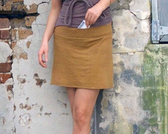 ORGANIC Secret Pocket Mini Skirt  ( light hempand organic cotton knit )