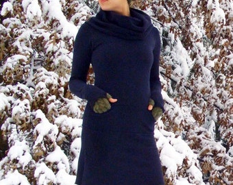 ORGANIC Chunky Cowl Darjeeling Mini Dress (hemp/organic cotton fleece) - organic dress
