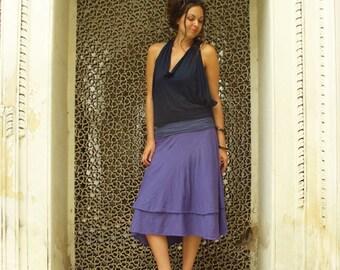 Organic Cotton Skirt - Vinyassa Below Knee Skirt (organic tissue cotton)