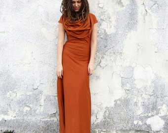 ORGANIC STRETCHY Super Cowl Simplicity Long Dress (organic cotton lycra)
