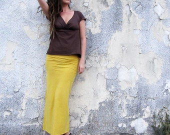 ORGANIC Pencil Long Skirt (light hemp and organic cotton knit) - organic skirt