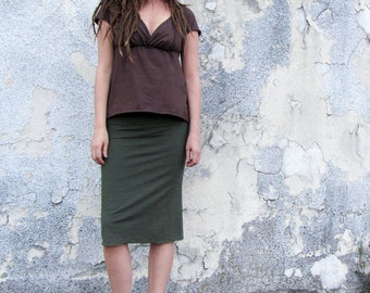 ORGANIC Pencil Below Knee Skirt ( light hemp and organic cotton knit ) - organic skirt