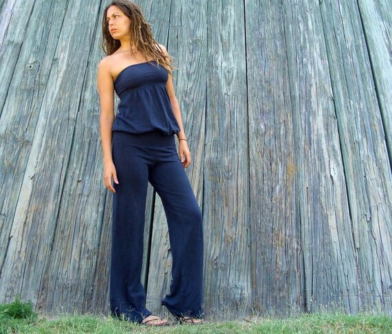 Organic Floating Tube Simplicity Pantsuit  ( light hemp and organic cotton knit ) - organic jumper