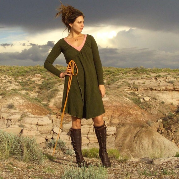 Wool Drawstring Wrap Dress/Jacket (organic merino wool)