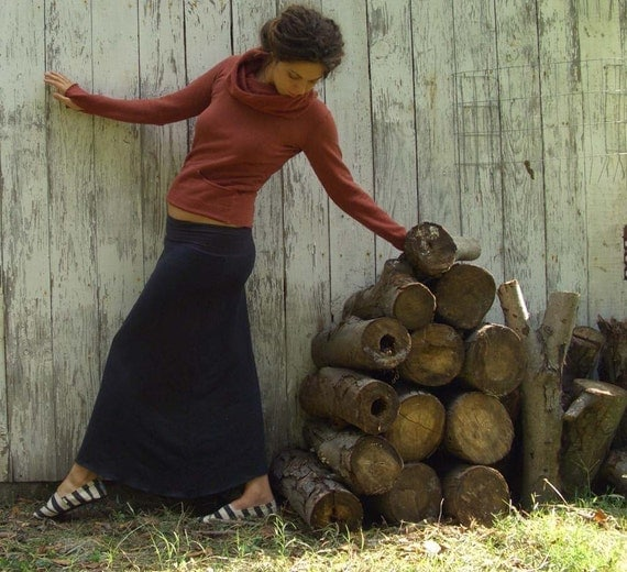 ORGANIC Simplicity Long Fleece Skirt - ( organic hemp and cotton blend Fleece ) - organic fleece skirt