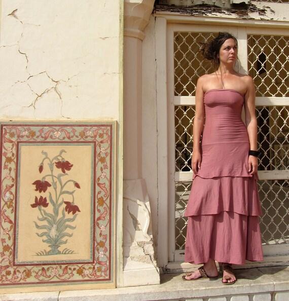 ORGANIC Love Me 2 Times Fountain Simplicity Long Dress ( light hemp and organic cotton knit ) - organic dress