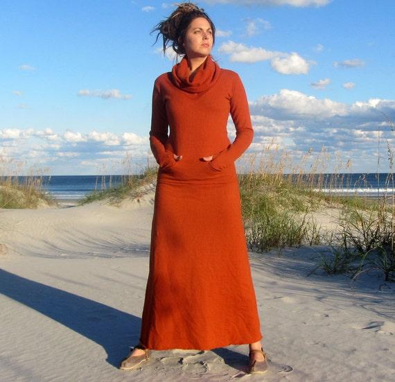 Women's ORGANIC Chunky Cowl Darjeeling Long Fleece Dress - ( FLEECE Hemp/Organic Cotton Knit  ) - winter dress