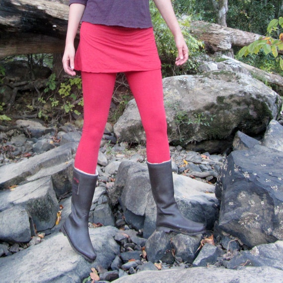 ORGANIC Wanderer Mini Skirted Legging ( light hemp and organic cotton knit ) - organic skirted leggings
